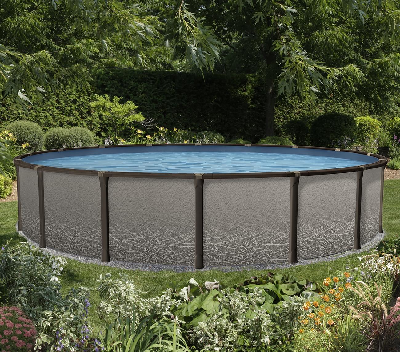 Piscine hors terre l ment de 27 pieds ronde pool for Cloture de piscine hors terre