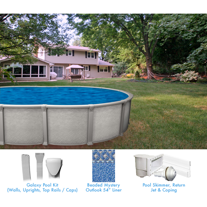 Galaxy 18 x 33 ft oval buttress free custom pool package for Above ground pool equipment