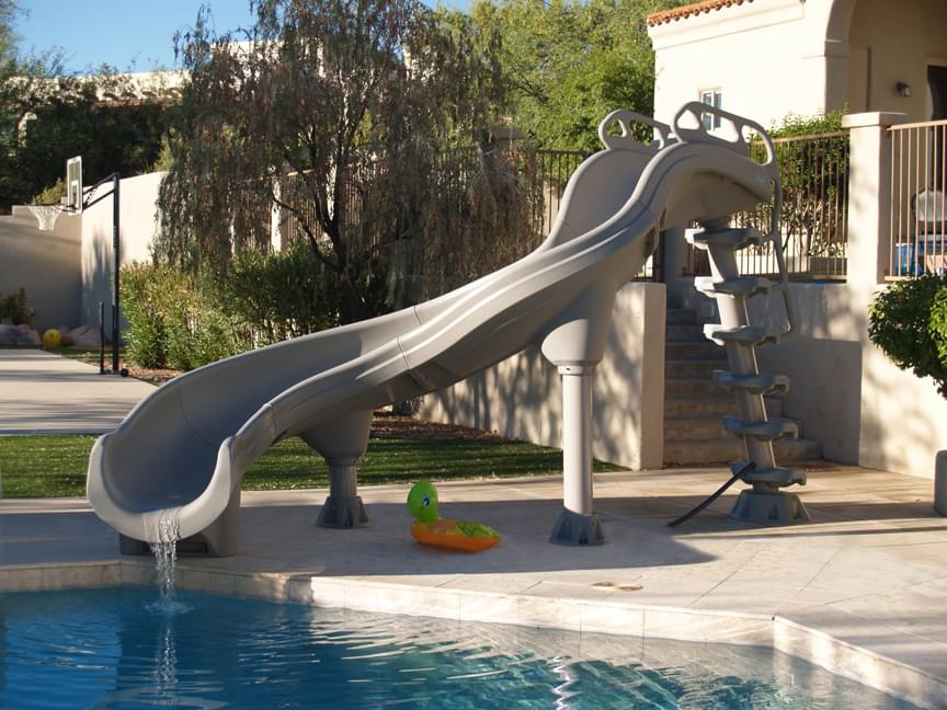 Inter fab adrenaline left hand inground pool slide pool - Commercial swimming pool water slides ...