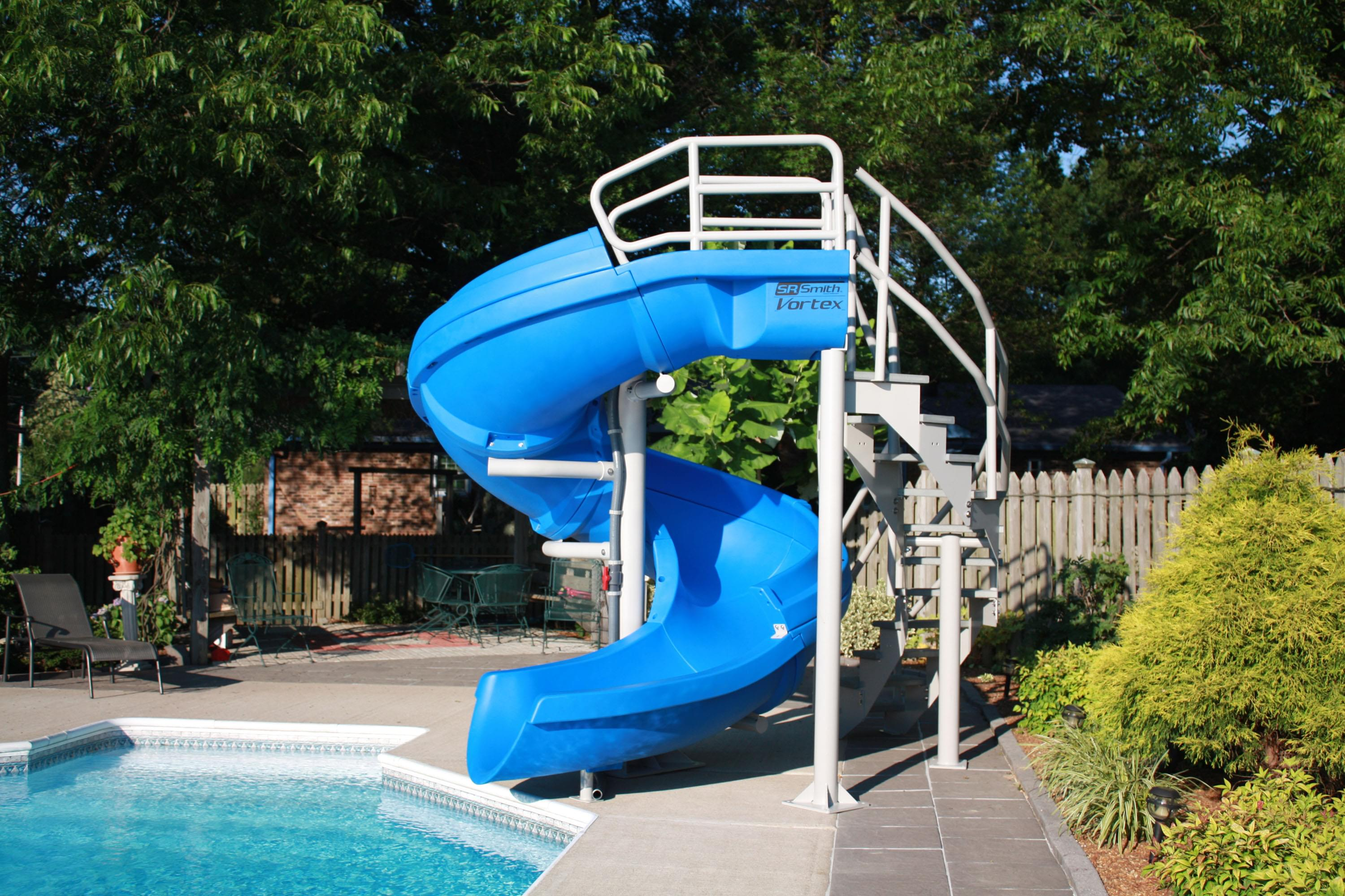 Vortex inground pool slide half tube and staircase blue pool supplies canada for Swimming pool water slide parts