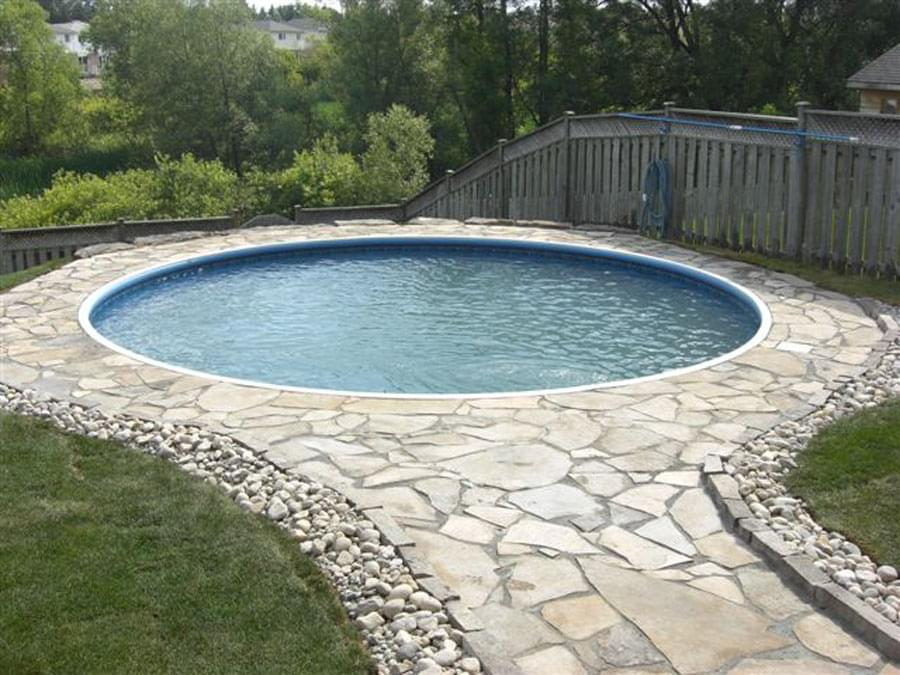 Eternity 14 x 28 ft kidney semi inground basic pool for On ground pools