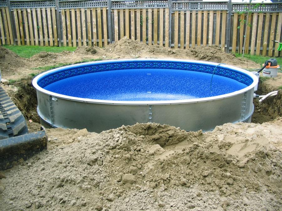 Eternity 27 ft round semi inground pool basic package for In ground pool companies