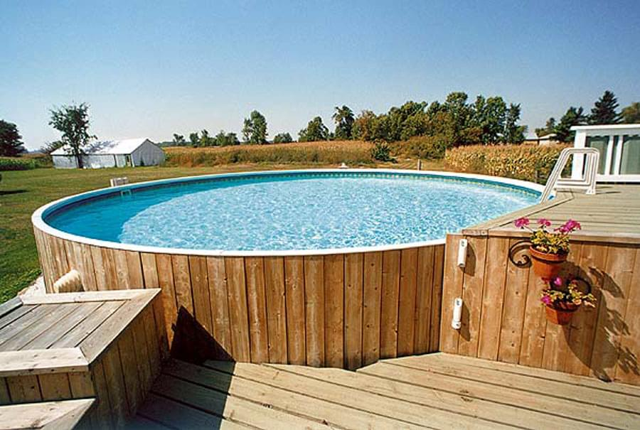 Semi inground pools pool supplies canada for In ground pool companies
