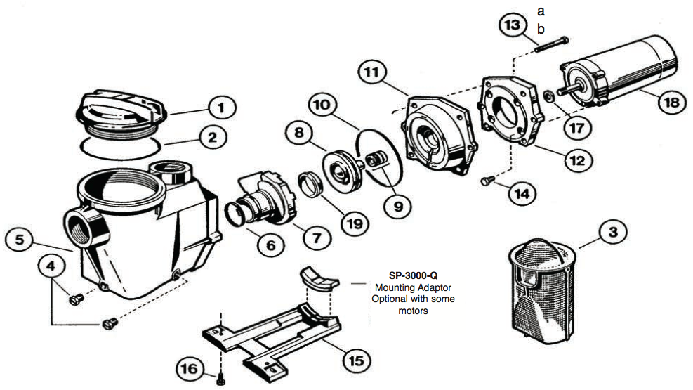 hayward e-z flo pump parts