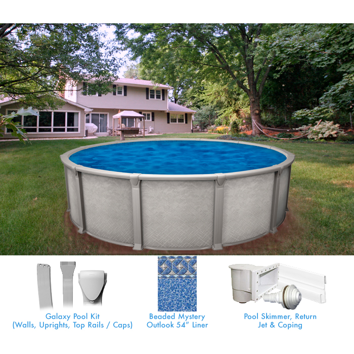 Galaxy 15 ft round above ground pool pool supplies canada for Above ground pool equipment