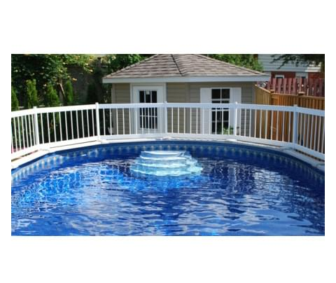 White above ground fence kit c 2 sections for Chauffe eau pour piscine hors terre