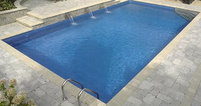 12 x 24 ft rectangle 2 ft round corners basic pool for Piscine creusee