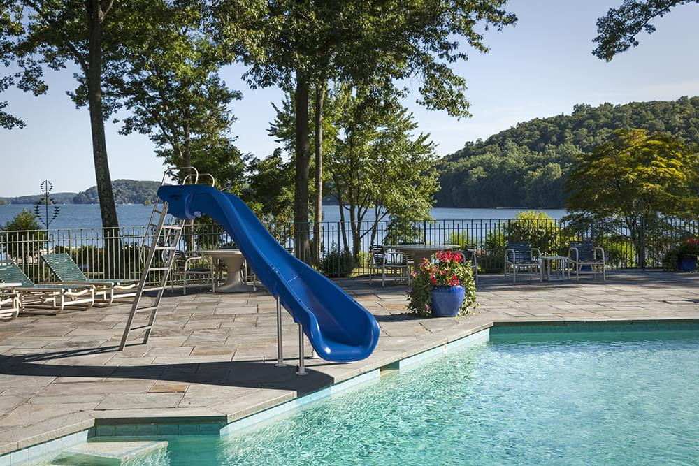 Rogue2 Right Hand Turn Inground Pool Slide Blue Pool