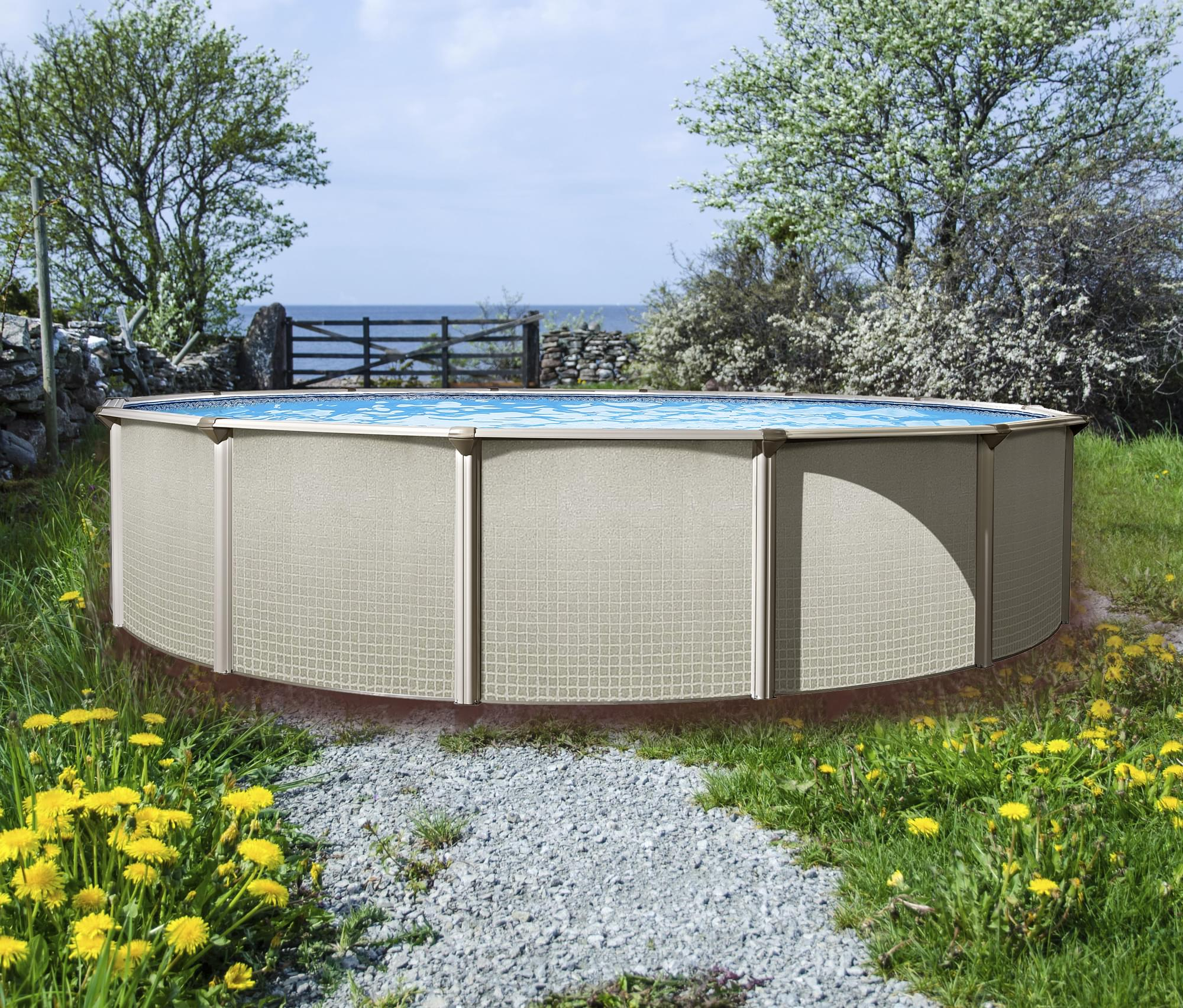 Evolution 27 ft round above ground pool for Piscine hors terre design