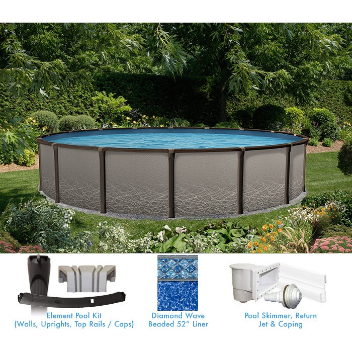 Element 24 round above ground pool custom package pool for Above ground pool kits