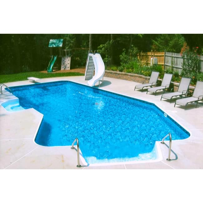 Lazy l piscine creus e 14 x 28 pieds gauch re avec radius for Prix piscine creusee