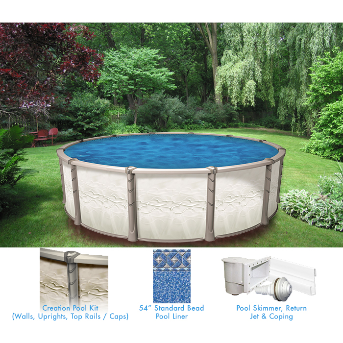 Creation 24 round above ground pool pool supplies canada for Above ground pool equipment