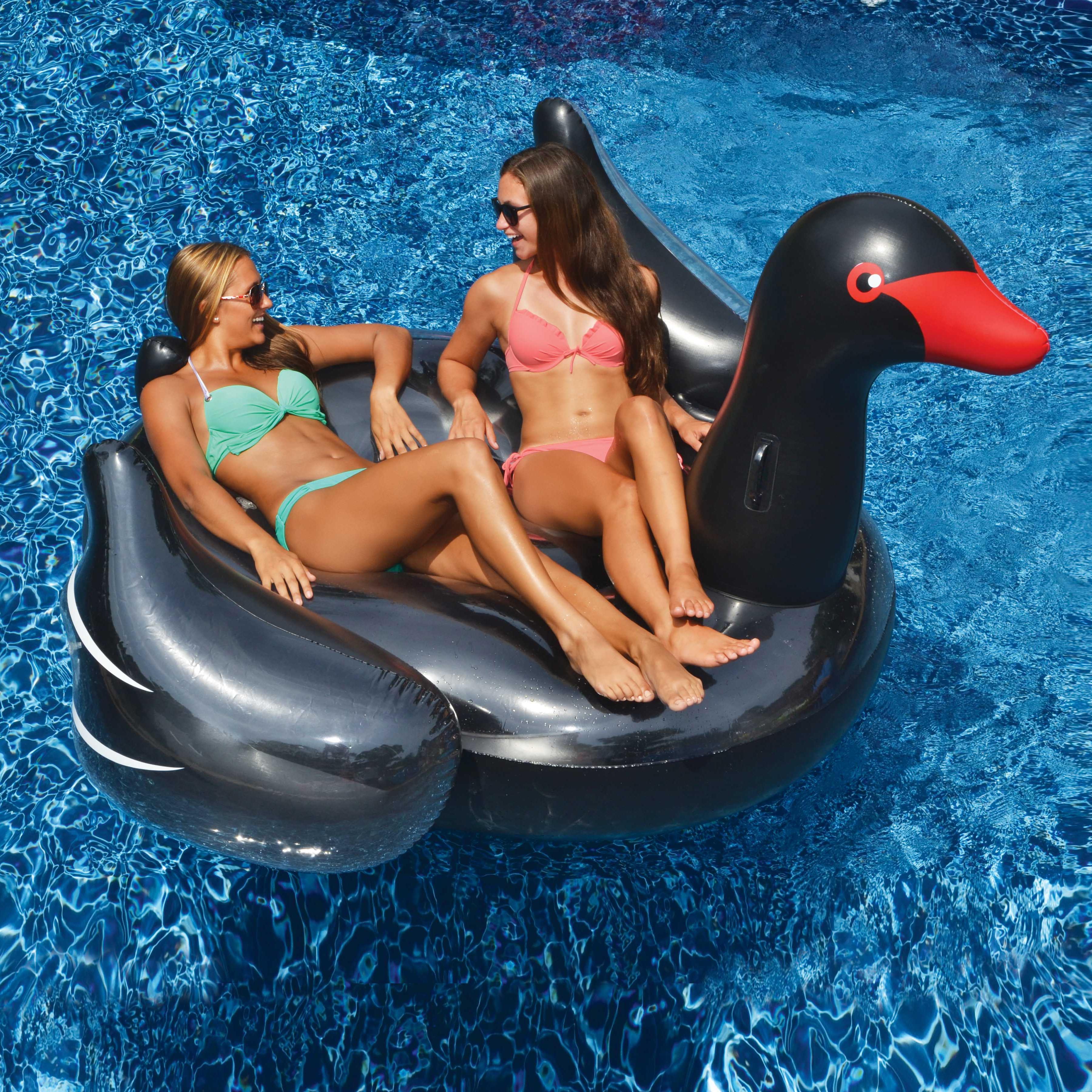 Giant Black Swan Ride-On Pool Float