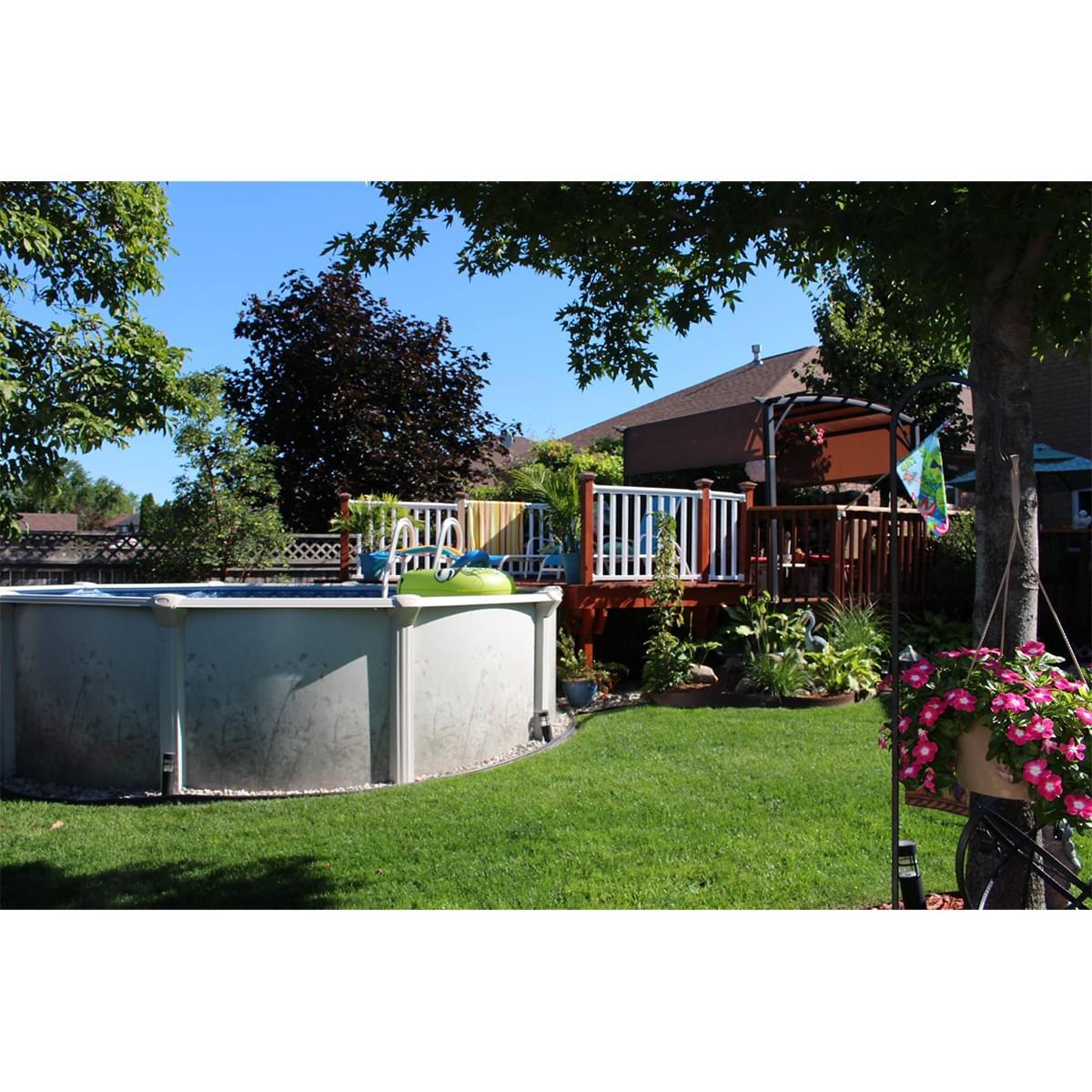 Nature 24 ronde hors terre avec toile et cumoire for Chauffe eau piscine hors terre prix