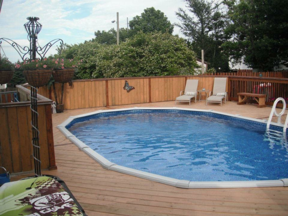 Nature 18 ft round above ground pool pool supplies canada for Above ground pool decks canada
