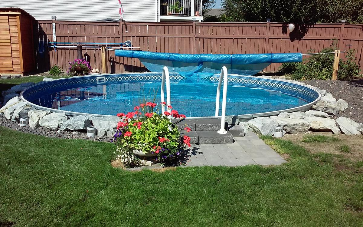 Eternity 15 ft round semi inground pool complete package for Cheap above ground pool packages