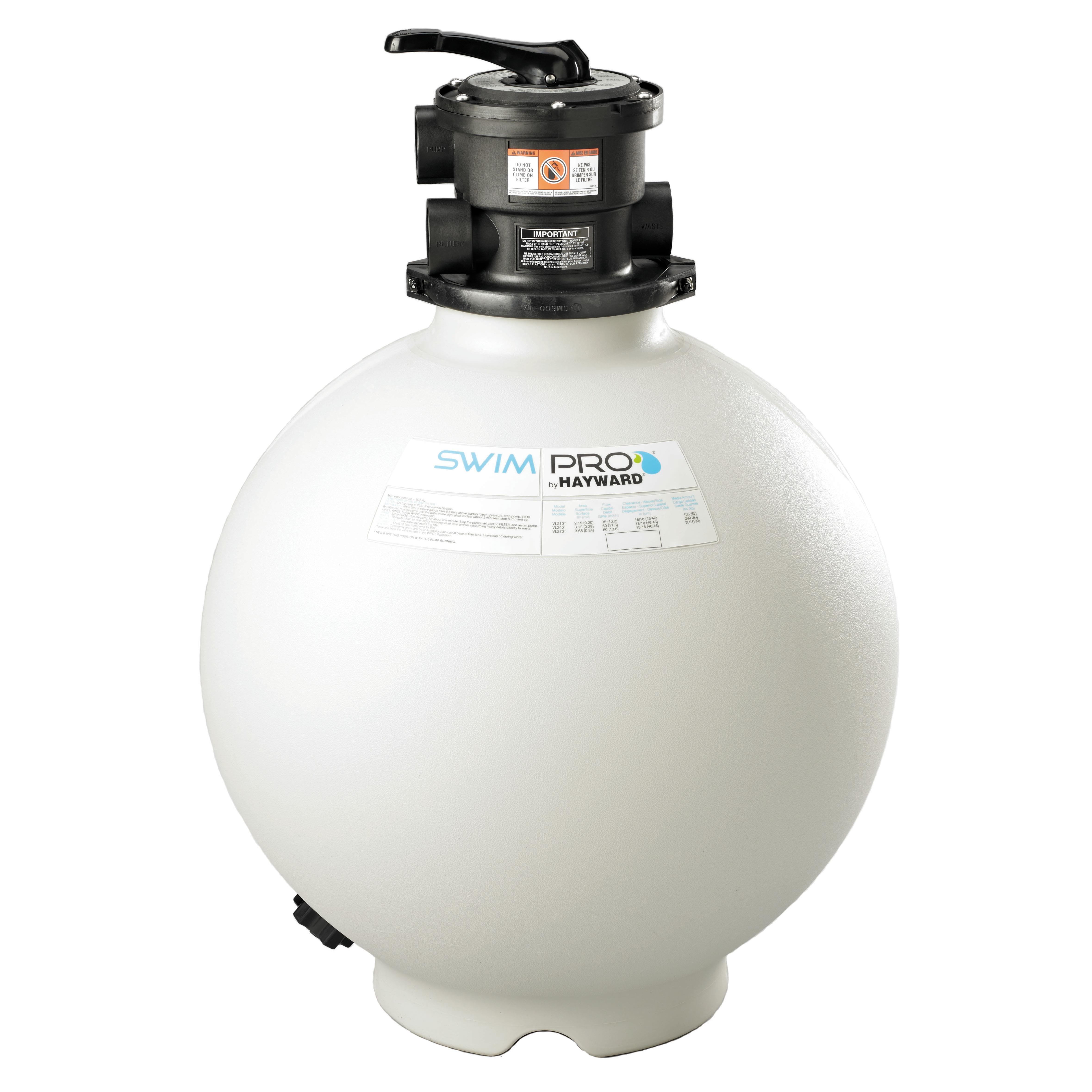 Hayward 24 inch swim pro sand filter with 6 way valve - Hayward pool equipment ...
