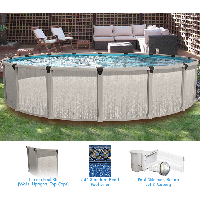 Eternia 24 ft round above ground pool custom package pool supplies canada for Above ground swimming pool kits