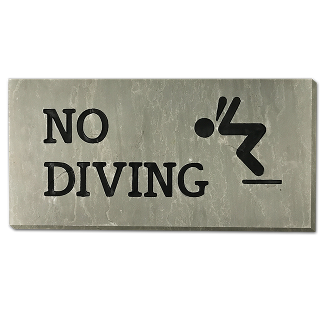 Slate Stone Hand Engraved Do Not Dive Sign Pool Supplies