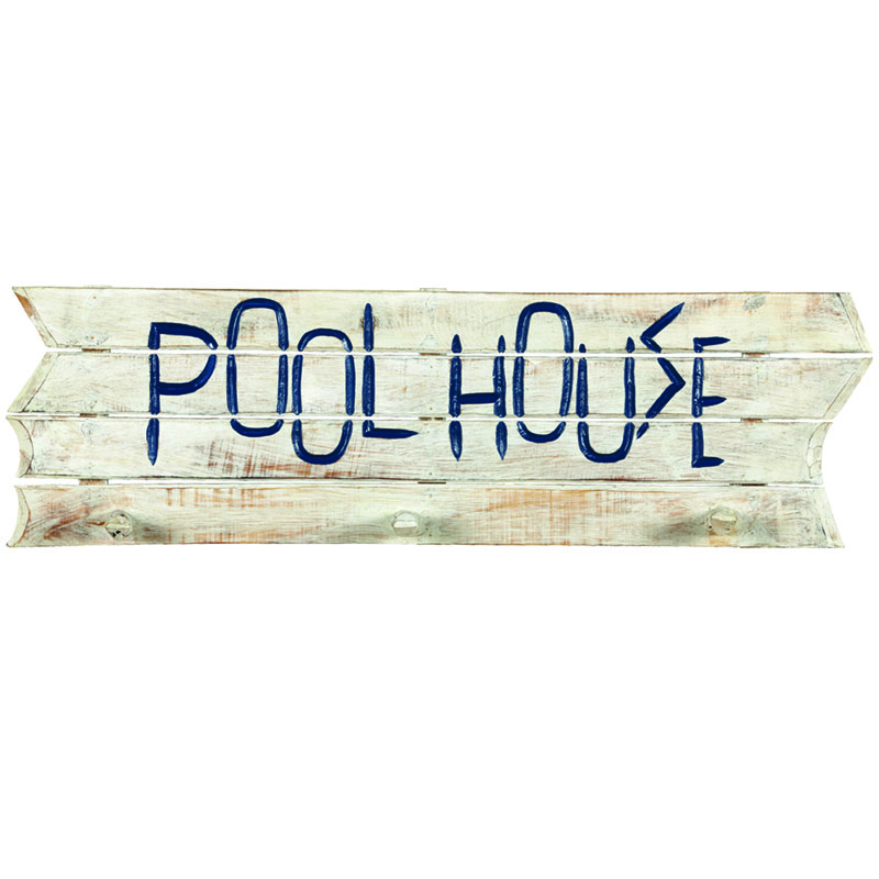 Pool Towel Sign With Hooks: Pool House Decorative Outdoor Sign And Towel Rack