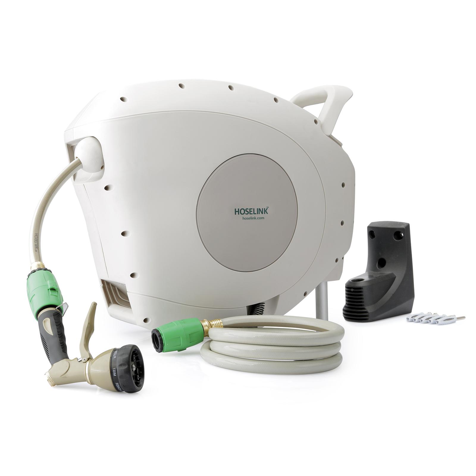 DISCONTINUED 2019 HoseLink Retractable Garden Hose Reel with 7 Function Spray Nozzle (82 Ft)