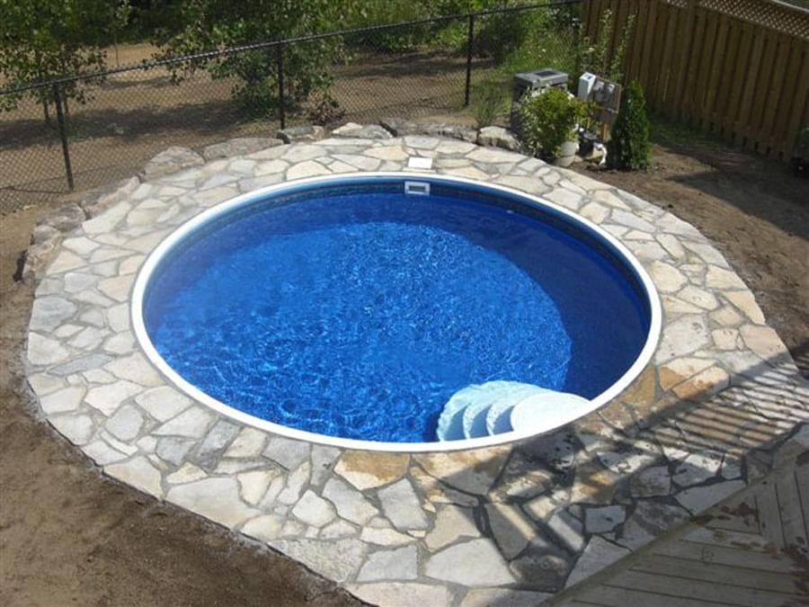 Eternity 15 ft round semi inground pool basic package for Pool design basics