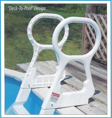 Deck to pool integrity above ground ladder grey pool for Above ground pool decks and ladders