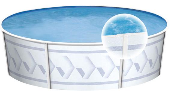 Piscine hors terre sunray 18 39 ronde avec toile et cumoire for Chauffe eau piscine hors terre prix