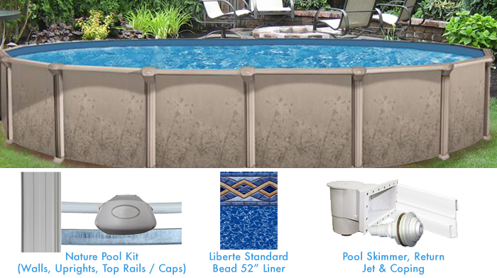 Nature 12 x 18 ovale sans contrefort personnalis for Forfait piscine