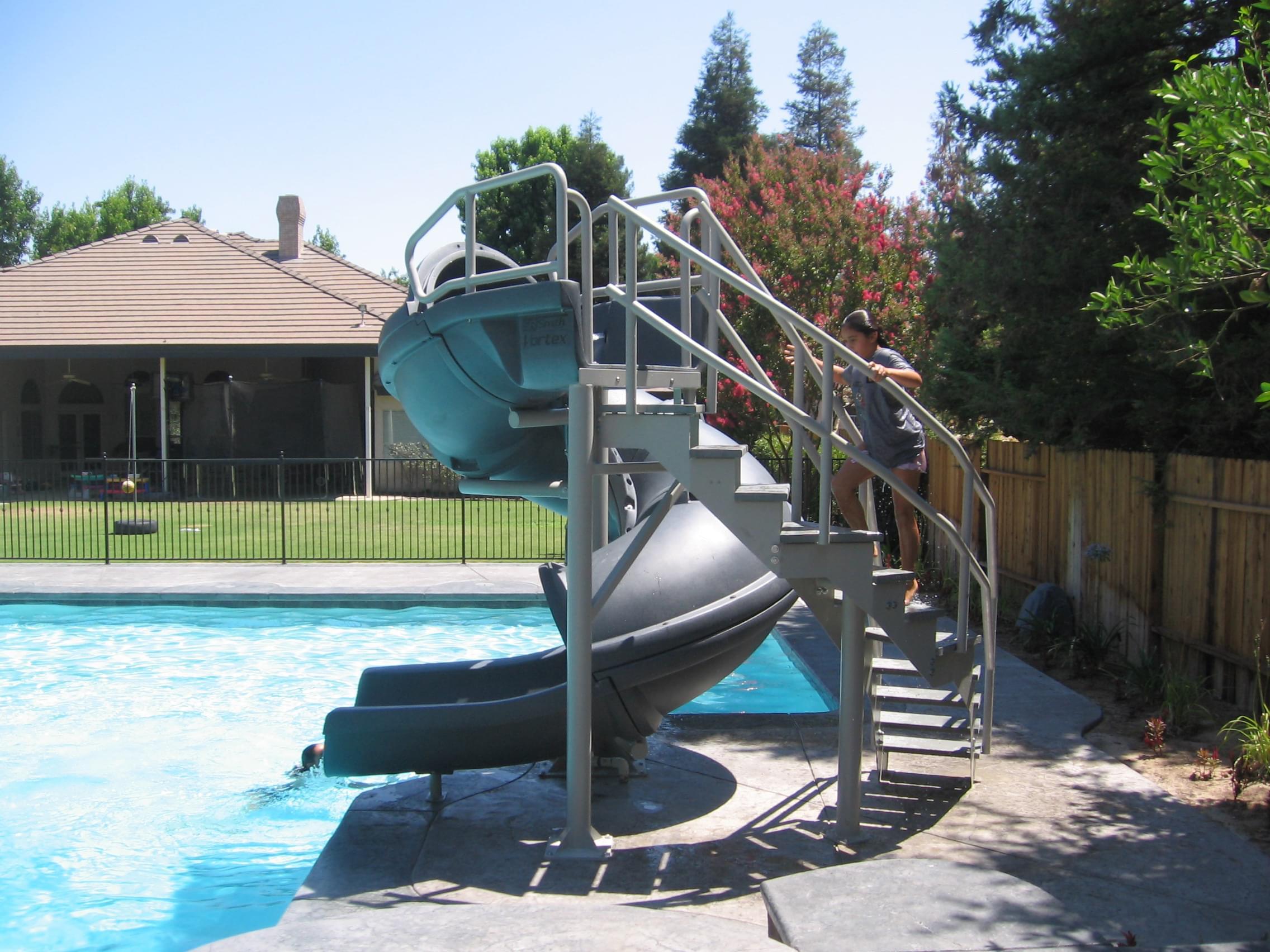 Vortex Inground Pool Slide Half Tube and Staircase (Gray Granite)