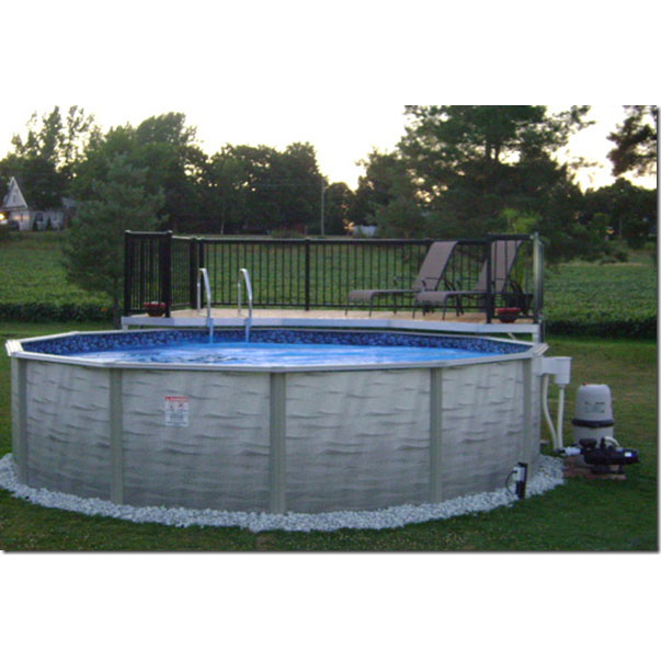 Evolution 27 ft round above ground pool custom package - Custom above ground pool ...