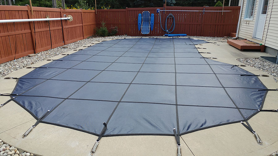 Safety Pool Cover Installation on Pool