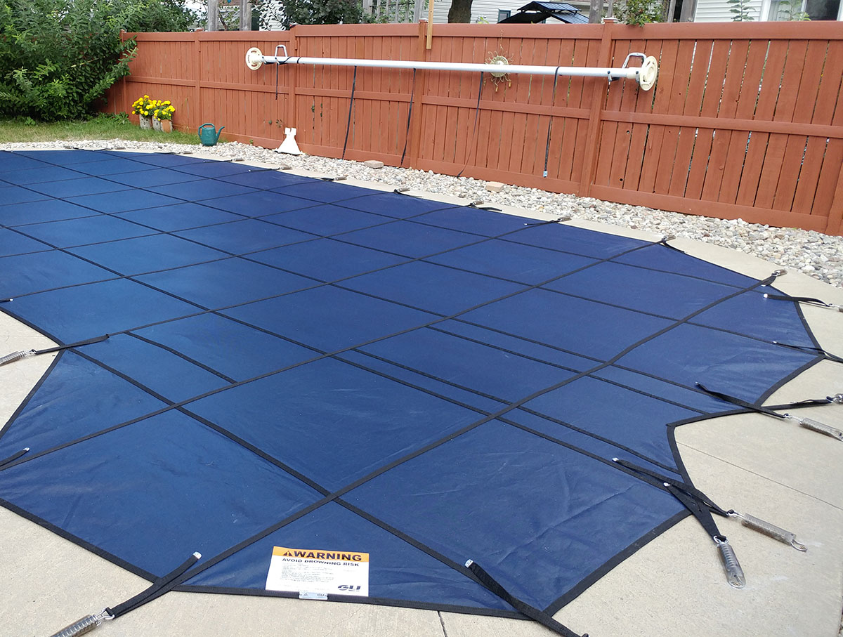 Safety Pool Cover Installation in Blue