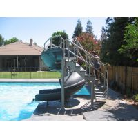 Vortex Inground Pool Slide Closed Flume and Staircase (Gray Granite)
