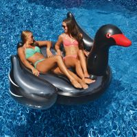 Giant Black Swan Ride-On Pool Float