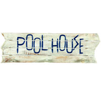 Pool House Decorative Outdoor Sign and Towel Rack