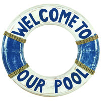 Welcome to Our Pool Life Ring Decorative Outdoor Sign