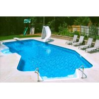 12 ft x 23 ft 2 Inch Lazy-L 2 ft Radius Left Hand Inground Pool Complete Package with Mosaic Dark Grey Liner Pattern