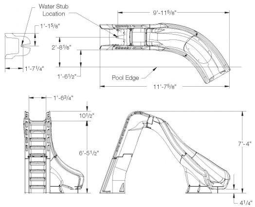 turbotwister right hand turn inground pool slide