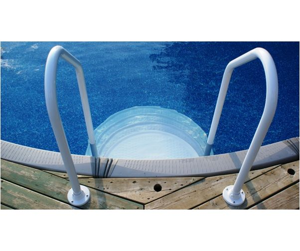 Above Ground Pool Stairs With Handrails : The step above ground drop in two pool supplies canada