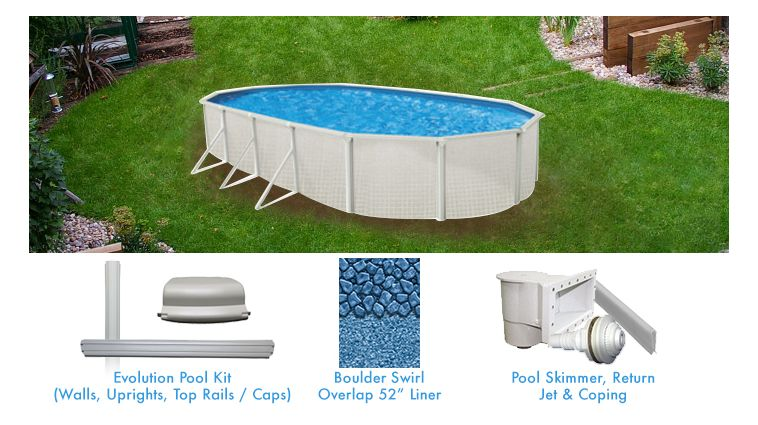 Evolution 15 x 30 ft oval above grou pool supplies canada for Above ground pool packages cheap